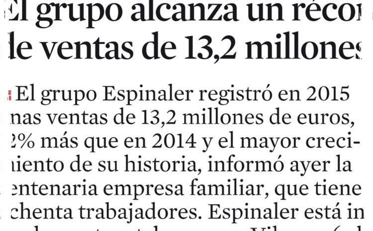 Espinaler alcanza record de ventas – La Vanguardia (2016)