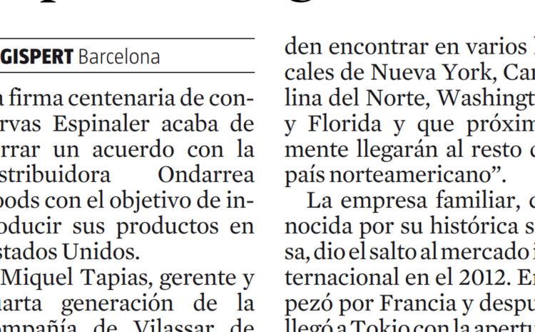 Espinaler llega a Estados Unidos- La Vanguardia (2016)